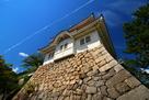 福山城 月見櫓と飛行機雲…