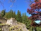 岩村城本丸石垣と紅葉…