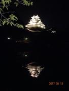 夜の逆さ姫路城(内堀に映る姫路城)…
