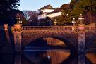 元旦の正門石橋と伏見櫓…