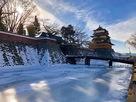 高島城 冬の天守と冠木橋…