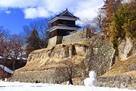 上田城 尼ヶ淵と雪だるま1…