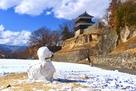 上田城 尼ヶ淵と雪だるま2…