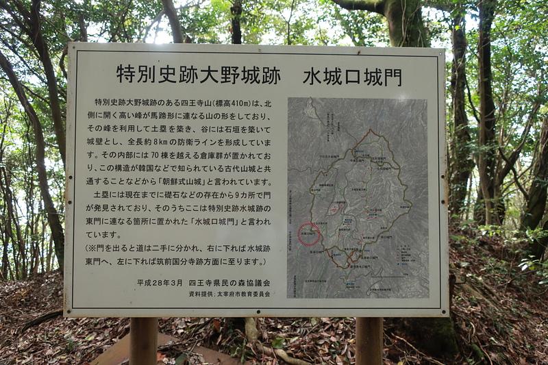 水城口城門跡の案内板
