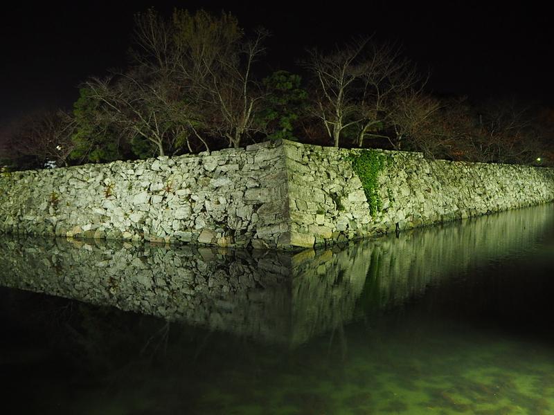ライトアップされた月見櫓石垣