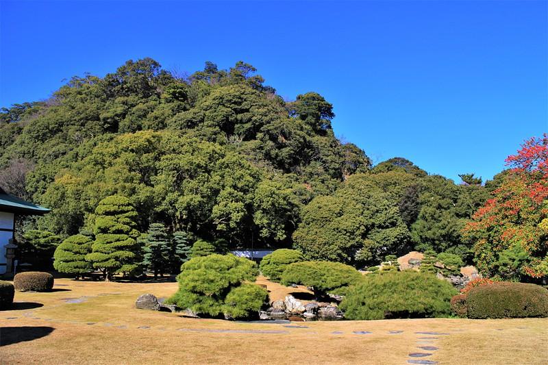 徳島城旧表御殿庭園と城山(南側)