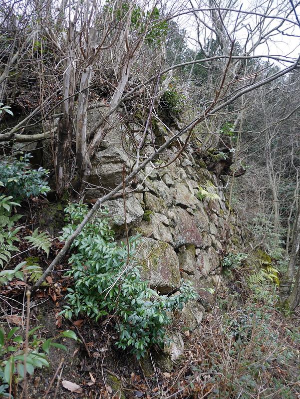 主郭から東北にある曲輪の北面石垣