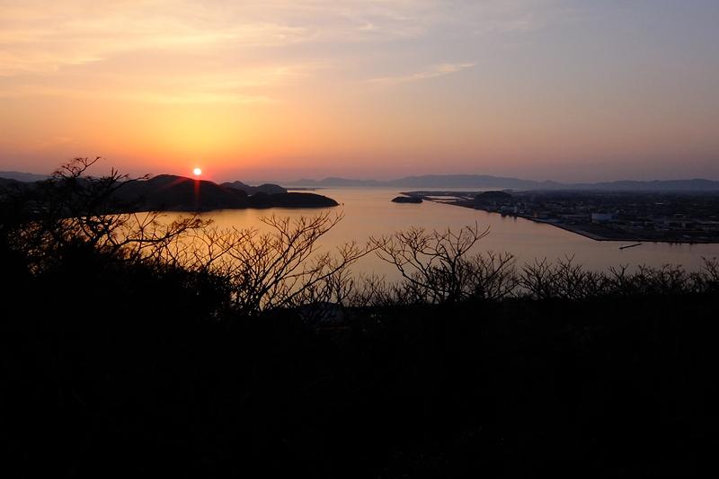 米子城からの眺望(夕陽)