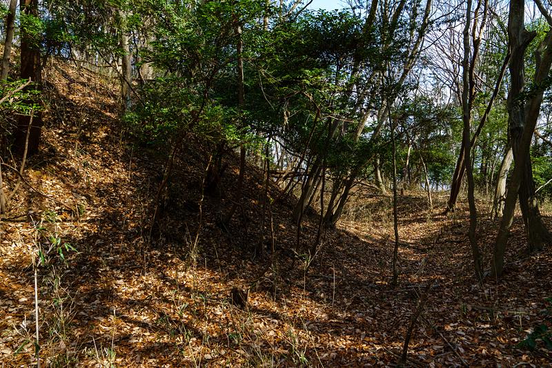 城域南端の横堀と土塁