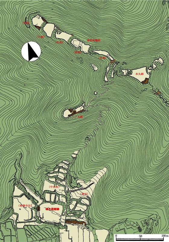 国吉城址地形測量図(平面図)[国吉城]