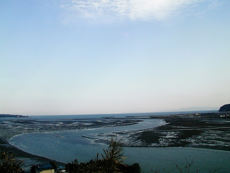 城から引き潮の海を望む
