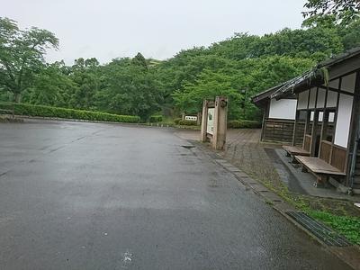 駐車場から望む城跡