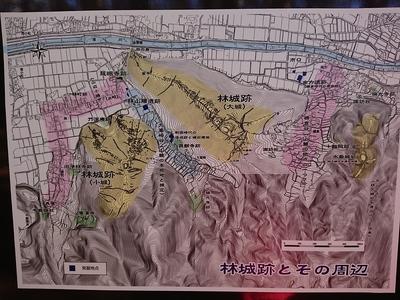 林城跡とその周辺の地図