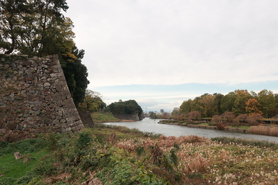 北東側の石垣と水堀