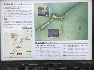 鎌刃城跡についての案内板