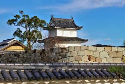 大石神社よりみる大手隅櫓と大手桝形石垣(南西側)
