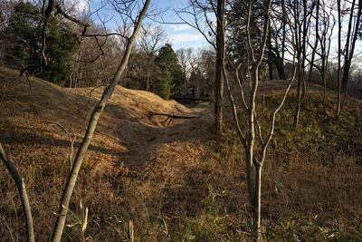 三ノ郭(左)と西ノ郭を隔てる空堀と土塁