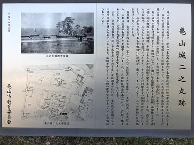 亀山城二之丸跡の案内板