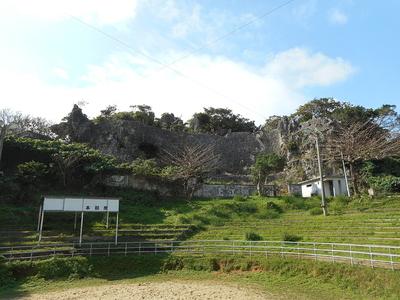 闘牛場から見た石垣