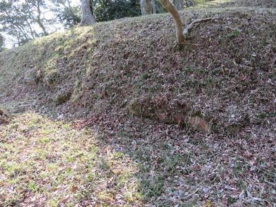 南の丸土塁の腰巻石垣