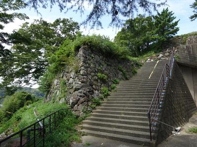 旧鳥羽小学校から本丸跡に続く石垣