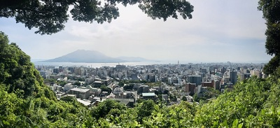 桜島と城下