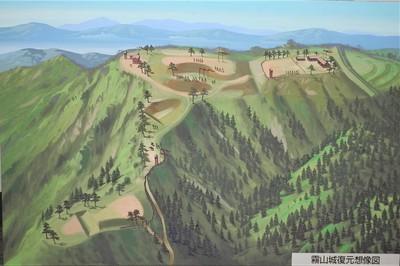 霧山城復元想像図(ふるさと資料館)