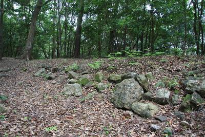 土に埋もれた石垣