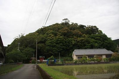日置八幡神社と日置八幡山城遠景