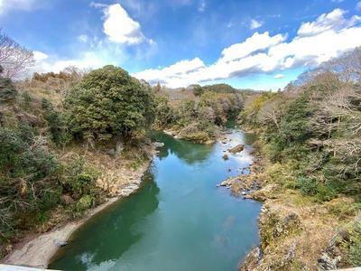 長篠城③ 牛渕橋から城址を望む