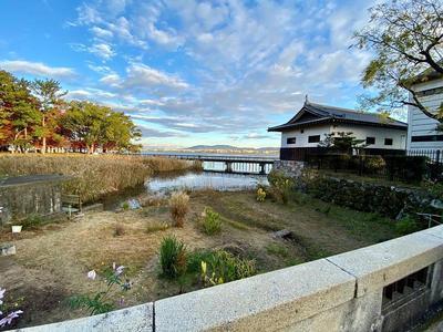 膳所城③ 二の丸御殿(政庁)跡横から琵琶湖を望む