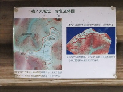 篠ノ丸城址 赤色立体図
