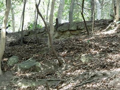 土塁跡からみた上段の石積