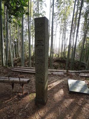 城跡碑と奥はⅡ郭との堀切・土塁