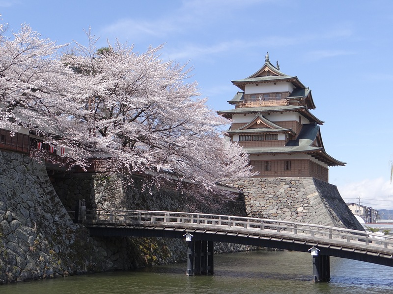 春の高島城(冠木橋前から)[高島城]