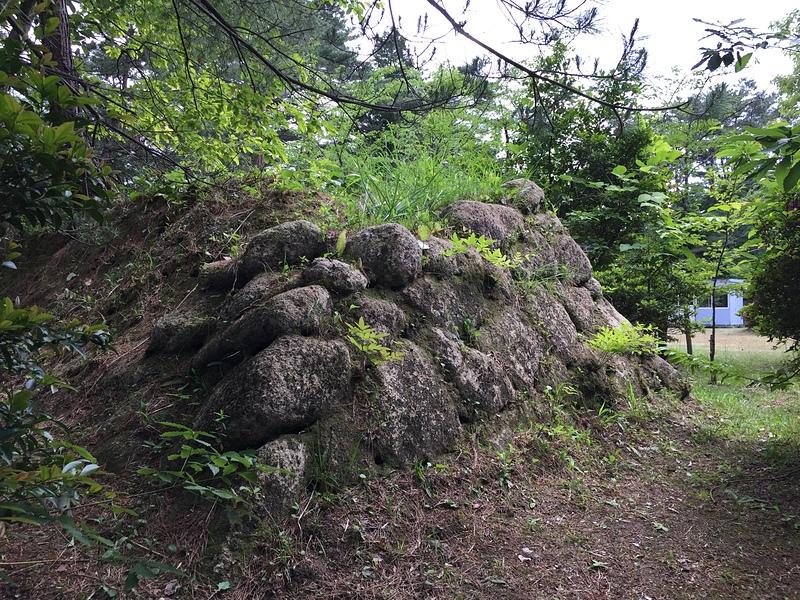 本丸跡土塁に残る石垣