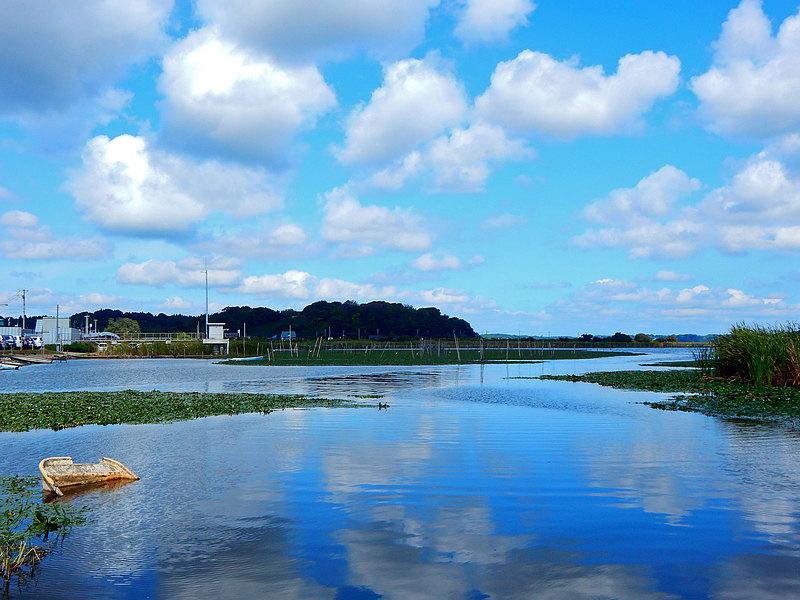 印旛沼から見た師戸城跡遠景