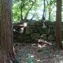 本丸跡から見る平井丸付近の石塁