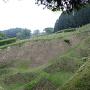 本丸から見た二の丸と犬走りのある畝堀