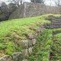 出櫓跡から見る二の丸跡の石垣