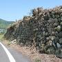 道路脇の玉石垣