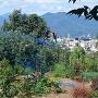 染屋城から上田城を見る