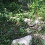 本丸虎口の崩れた石垣