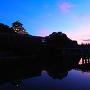 極楽橋と天守夕景