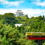 大多喜城遠景といすみ鉄道