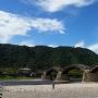青空&岩国城遠景&錦帯橋