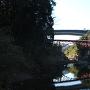 宇連川の河原から望む長篠城東側