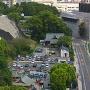 東十八間櫓と石の保管エリア(市役所14Fより)