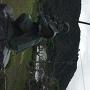 佐々木小次郎像と山上の天守閣
