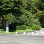 城址碑と支倉常長像